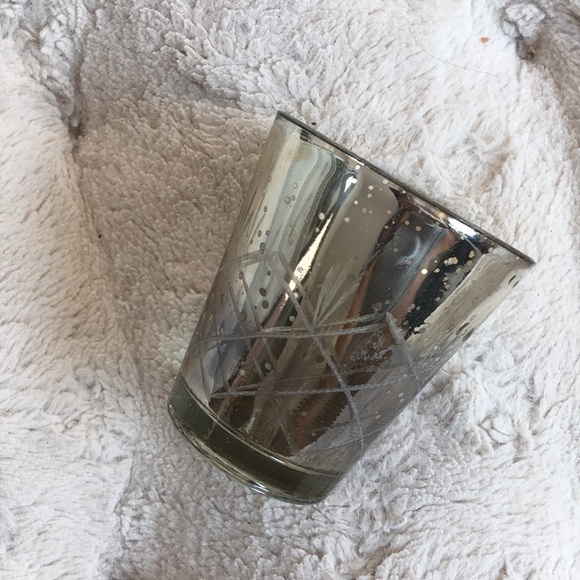 Etched Mercury Glass Candle Holder